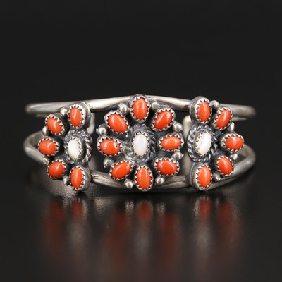 Southern Sterling Coral and Mother of Pearl Cuff with Flower Pattern