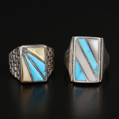 Southwestern Sterling Turquoise and Mother of Pearl Diagonal Inlay Rings