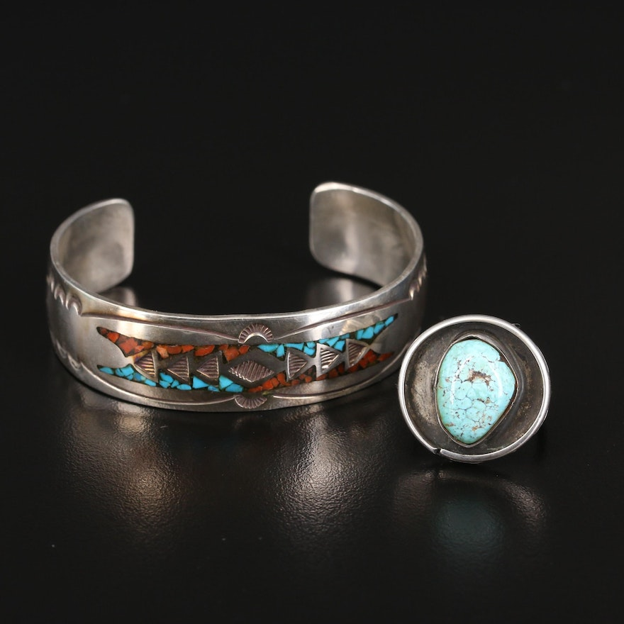 Southwestern Sterling Stone Inlay Cuff and Turquoise Shadowbox Ring