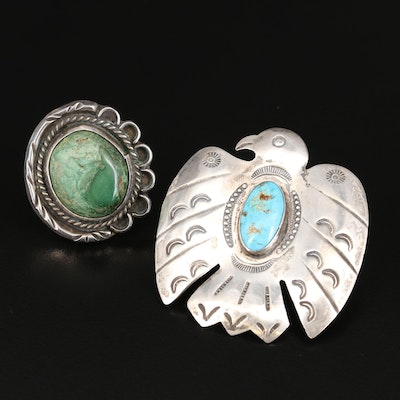 Southwestern Turquoise Ring and United Indian Traders Association Brooch