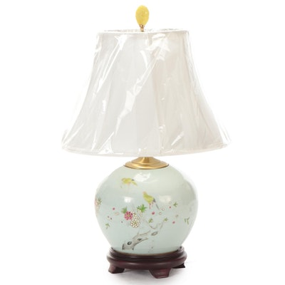 Chinese Celadon Hand-Painted Ceramic Melon Jar Table Lamp