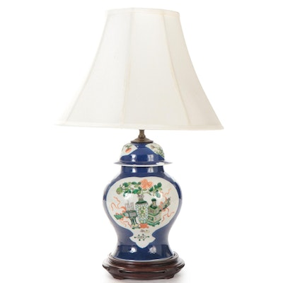 Famille Verte 100 Precious Objects Temple Jar Converted Table Lamp