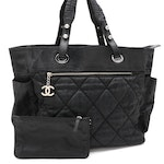 Chanel Paris-Biarritz Tote in Quilted Black Coated Canvas and Leather with Pouch