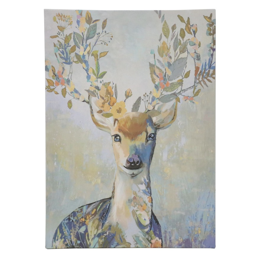 Contemporary Giclée of Abstract Deer with Flowers