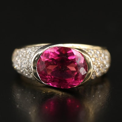 14K 3.42 CT Pink Tourmaline and 1.26 CTW Diamond East-West Ring