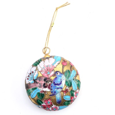 Chinese Cloissoné Enameled Ornament with Bird Motif