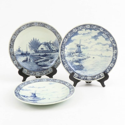Boch Delft Blue and White Decorative Wall Platters, Mid-20th Century