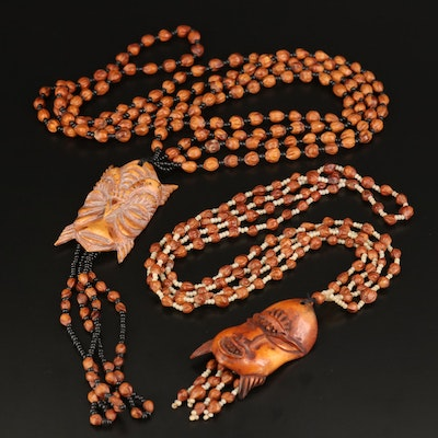 African Carved Mask Pendant on Beaded Necklaces with Bone and Seed