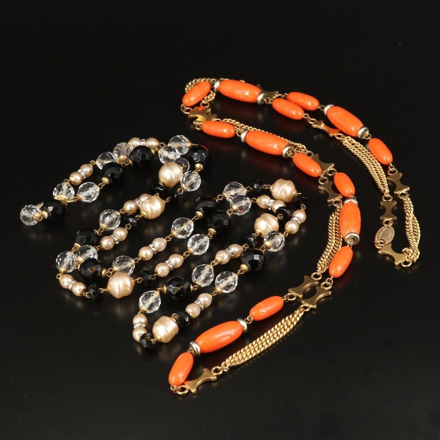 Poggi and Bozart Rhinestone, Glass and Faux Pearl Necklaces
