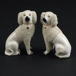 Staffordshire Ware Ceramic Confetti Poodle Figurines, Early to Mid 20th Century