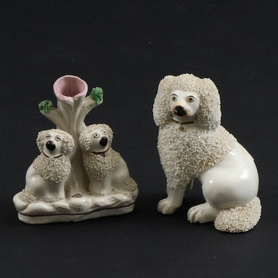 Staffordshire Confetti Coat Poodle Spill Vase Pen Holder and Seated Figurine