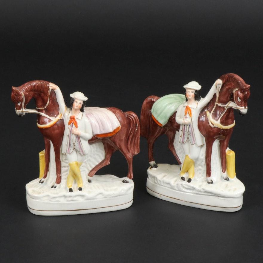 Staffordshire Ceramic Horse and Groom Flatbacks, Mid-19th Century
