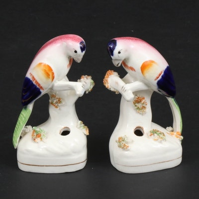 Staffordshire Ceramic Parrots Quill Holders, Early to Mid 20th Century