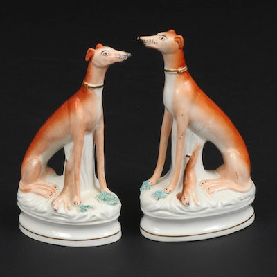 Staffordshire Ceramic Whippets with Rabbits, Late 19th/ Early 20th Century
