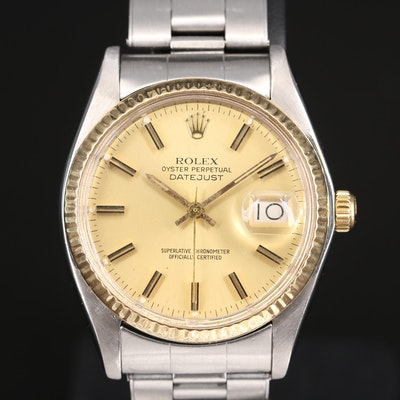 1977 Rolex Datejust Model 6694 18K and Stainless Steel Wristwatch