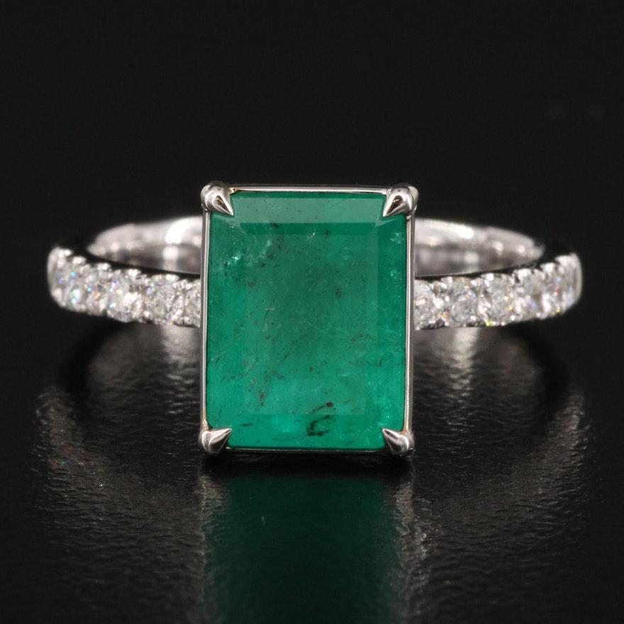 18K 2.22 CT Emerald and Diamond Ring