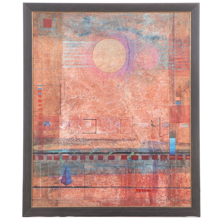 Large-Scale Abstract Mixed Media Painting, Late 20th Century