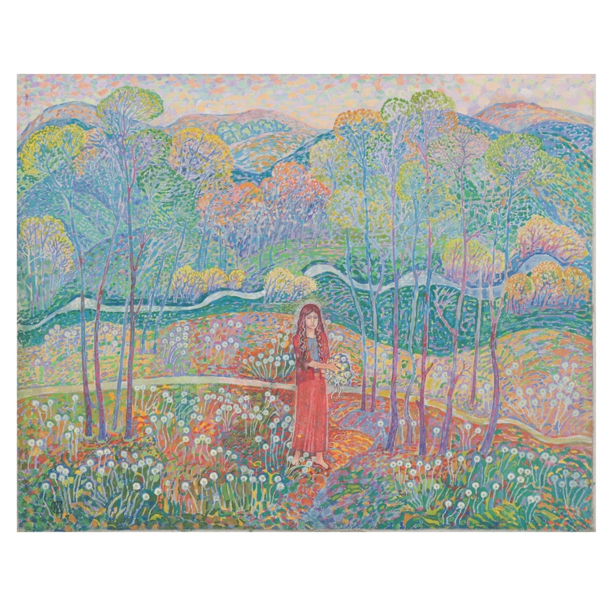 Fauvist Style Oil Painting of Woman in the Forest, 1955
