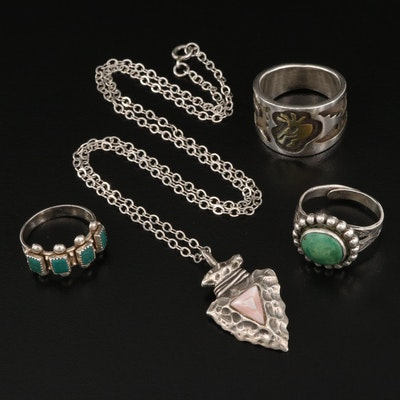 Southwestern Sterling Silver Rings and Pendant Necklace with Gemstone Accents