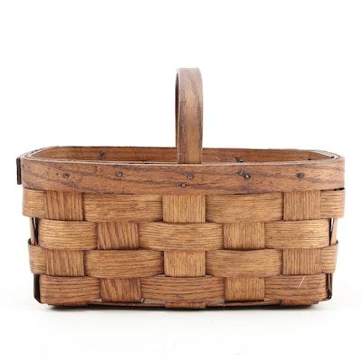 American Splint Oak Handled Gathering Basket, 19th Century