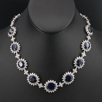 14K Sapphire and 16.15 CTW Diamond Necklace