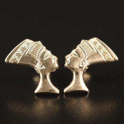 14K Nefertiti Stud Earrings