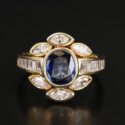 14K Sapphire and 1.02 CTW Diamond Ring