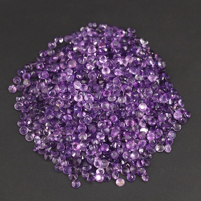 Loose 108.23 CTW Round Faceted Amethysts