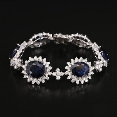 14K Sapphire and 6.99 CTW Diamond Bracelet