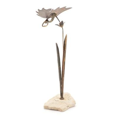 Metal and Stone Hummingbird Figurine