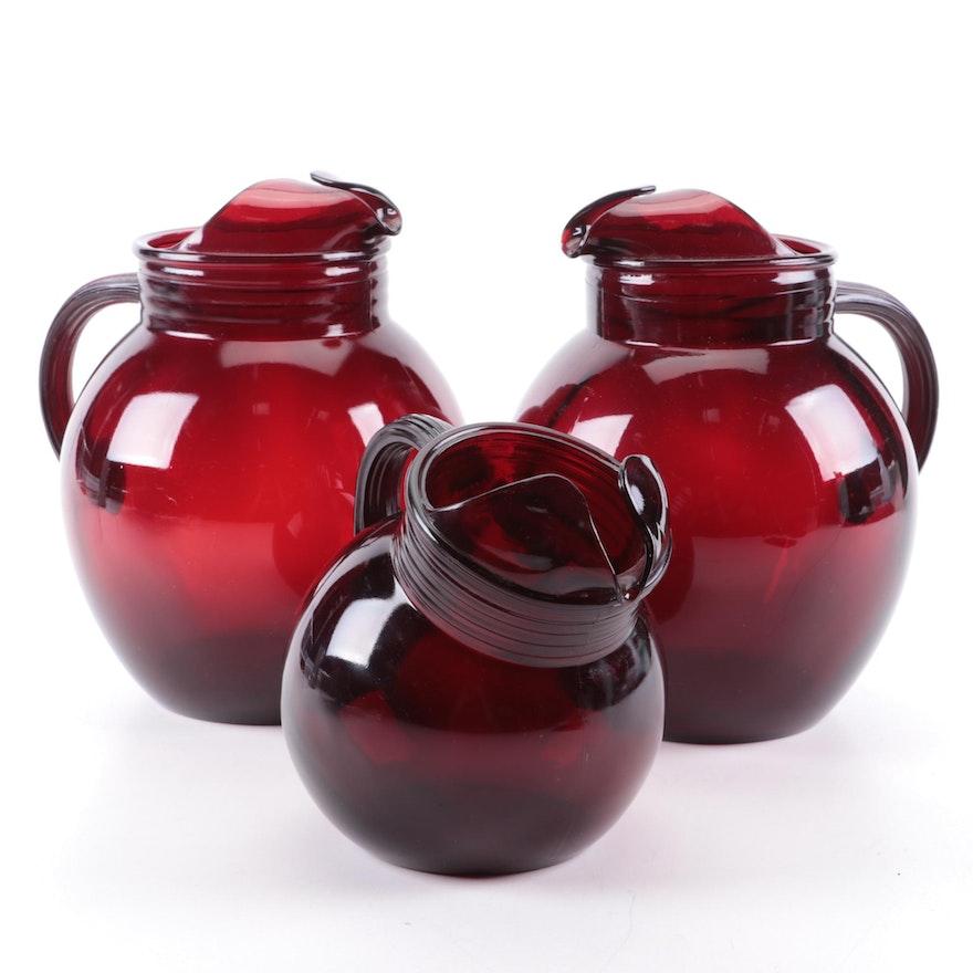 Ruby Red Art Glass Ball Pitchers