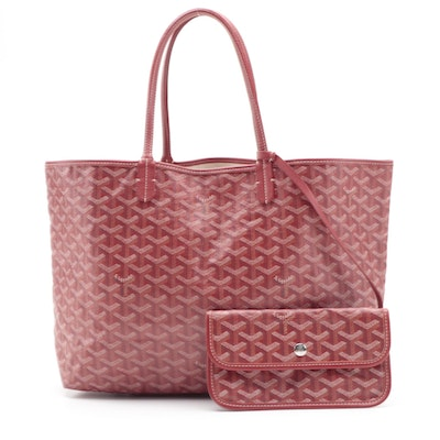 Goyard St. Louis PM Tote and Pouch in Chevron Coated Canvas with Leather Trim