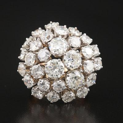 14K and Platinum 11.56 CTW Diamond Dome Ring
