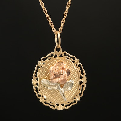 14K Pendant Necklace with Rose and Green Gold Accents