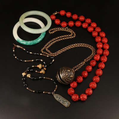 Asian Style Bangles, Buddha Amulet and Tiger Bell Necklaces