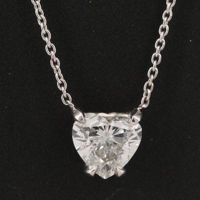 Platinum 0.90 CT Diamond Solitaire Heart Necklace with GIA Report