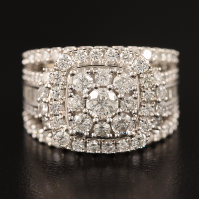 14K 3.86 CTW Diamond Cluster Ring