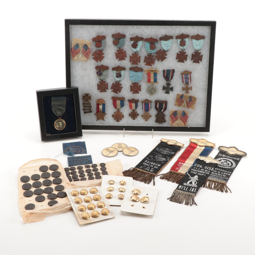 G.A.R. Organization Badges, Memorial Ribbons, General Service Buttons, and More