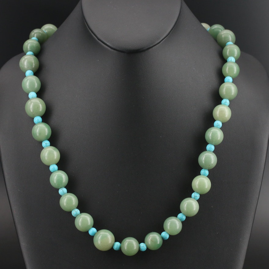 Aventurine and Faux Turquoise Bead Necklace with 950 Silver Clasp