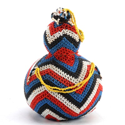Xhosa Beaded Gourd Container, South Africa