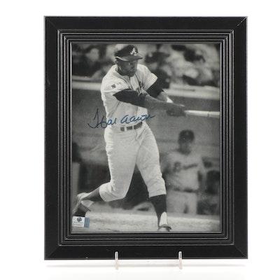 Hank Aaron Signed Atlanta Braves Photo Print, Global COA