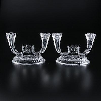 Pressed Glass Double-Light Candelabra