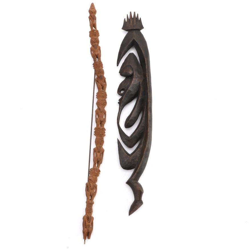 "Alambak ""Yipwon"" Wood Carving and Lower Sepik Figural Carved Wood Post"