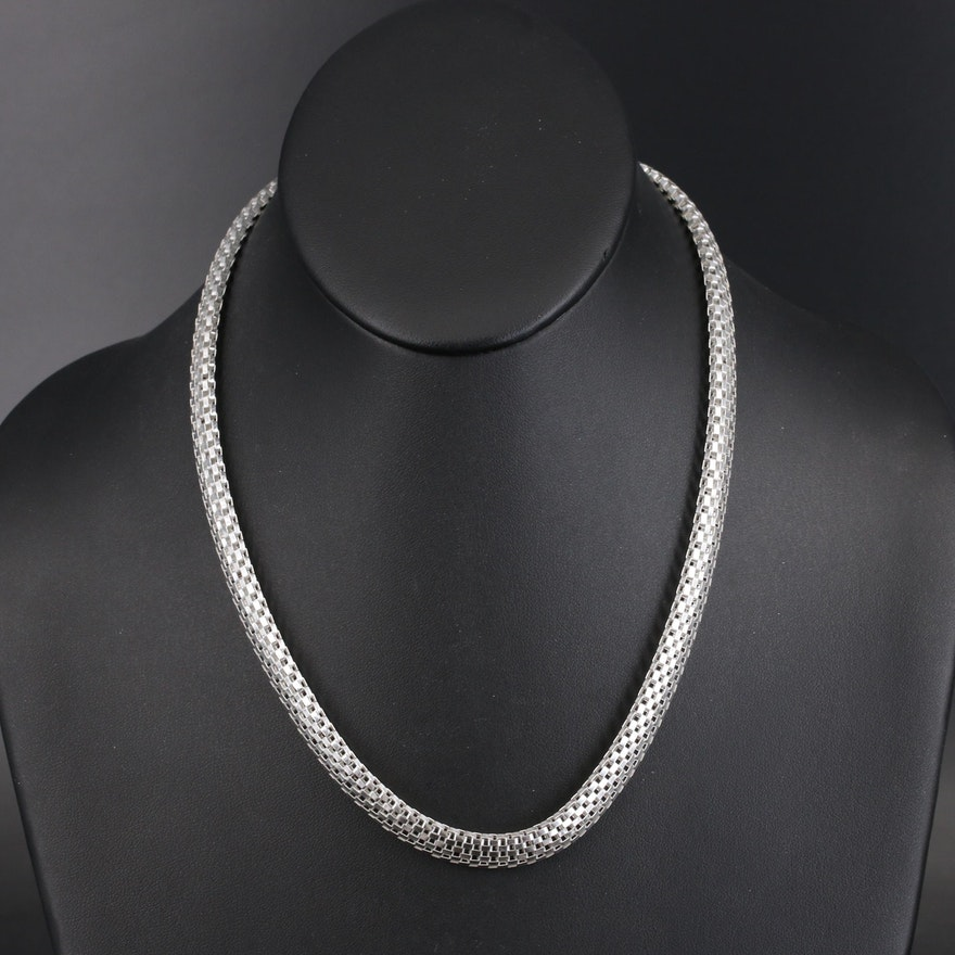 Sterling Silver Italian Mesh Necklace