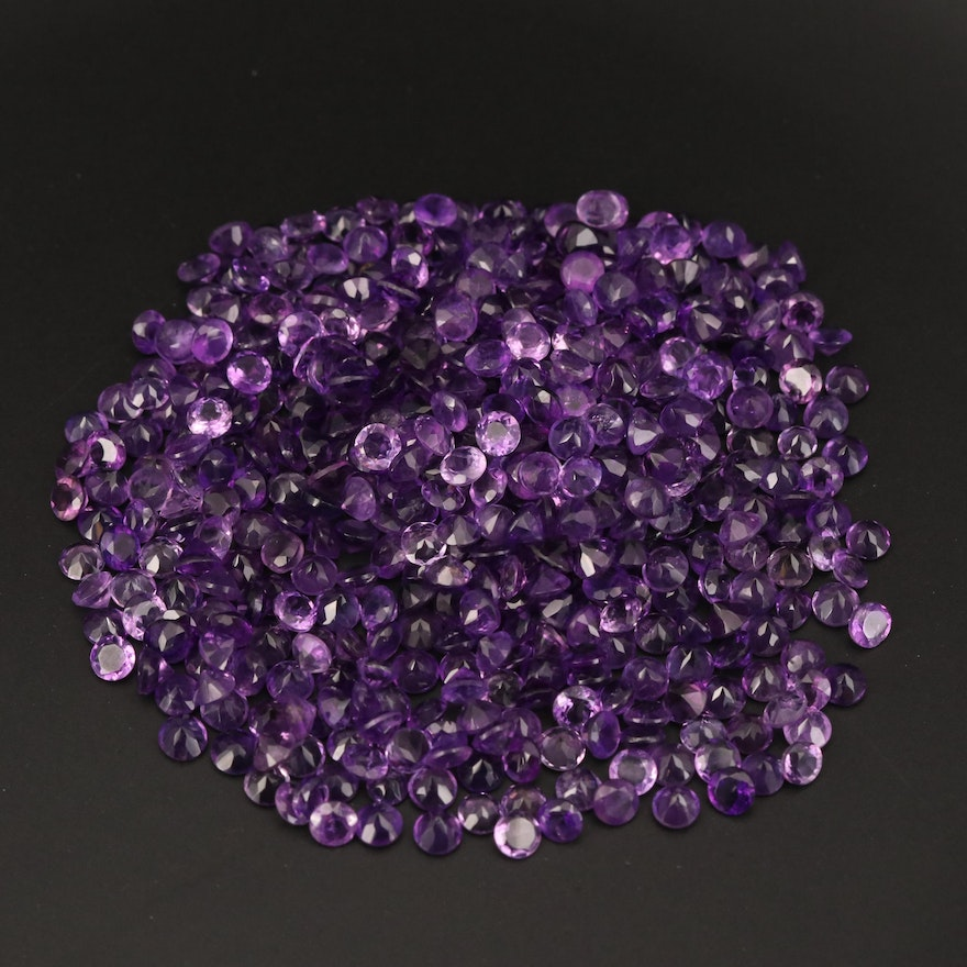 Loose 113.87 CTW Round Faceted Amethysts