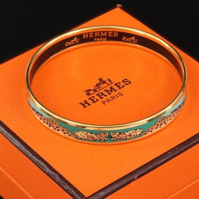 Hermès Enamel Jaguar Print Bangle