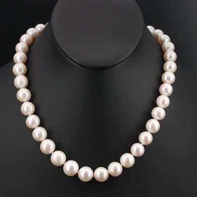 Pearl Necklace with 14K and 18K Clasp