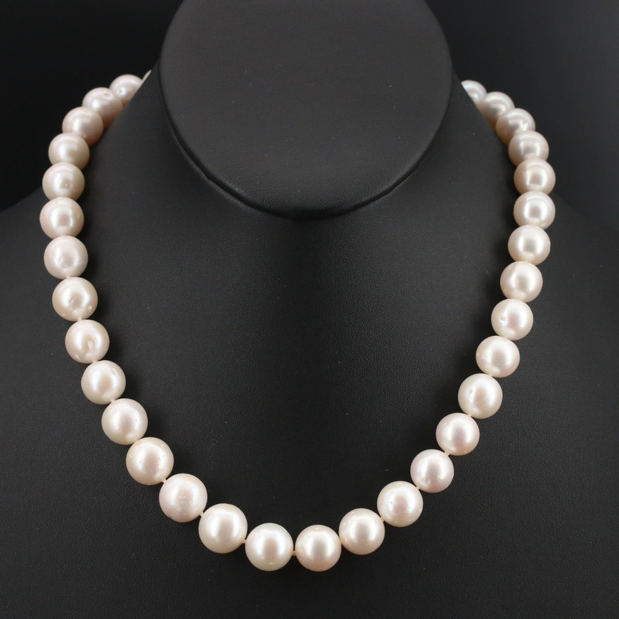 10.50 MM - 12.00 MM Pearl Necklace with 14K and 18K Clasp