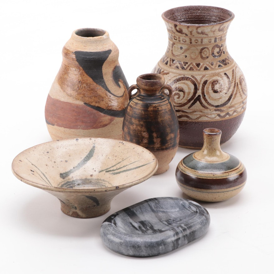 Studio Art Pottery Miniature Vases and Bowl