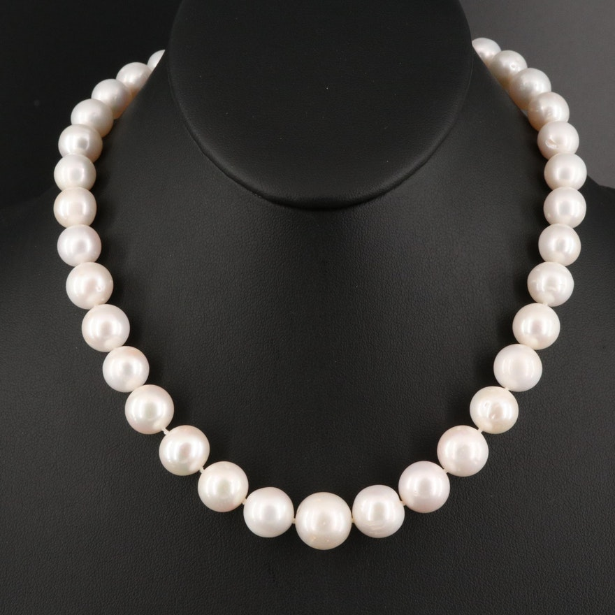 10.30 MM - 13.50 MM Pearl Necklace with 18K Clasp and 14K Jump Rings